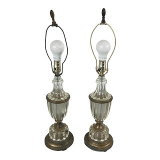 1900s Glass Table Lamps - a Pair For Sale