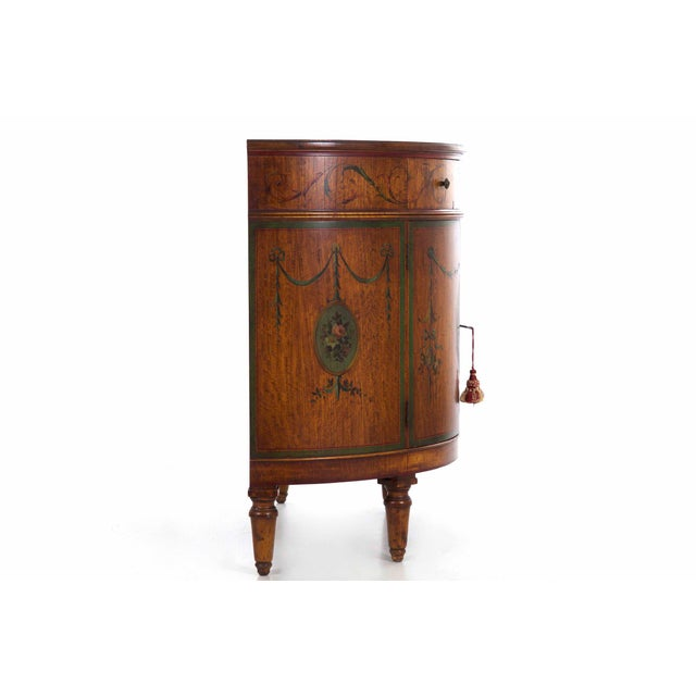 English Circa 1930s Adam's Style Finely Painted Antique Demilune Cabinet by William Wholey Co. For Sale - Image 3 of 13