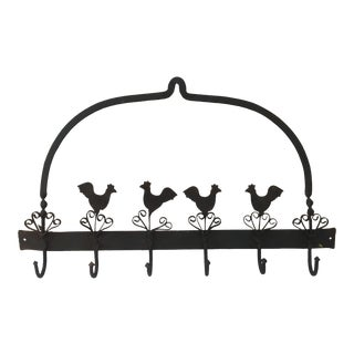 1950s French Birds Iron Pot or Towel Rack For Sale