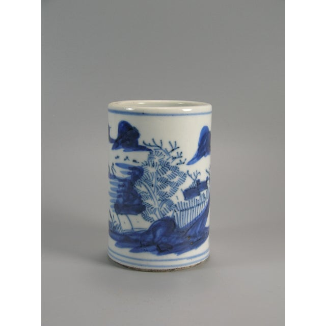 19th Century Chinese Small Blue and White Brush Pot/Bitong For Sale - Image 11 of 11