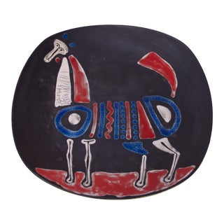 Mid-Century Italian Modern Cubist Ceramic 'Horse' Charger by Raymor For Sale