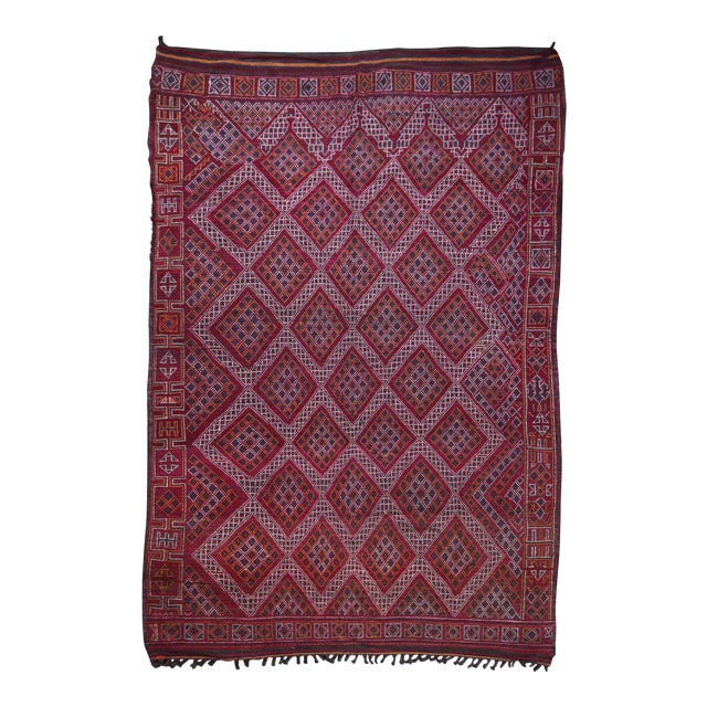Hand Knotted Reversible Geometric Moroccan Rug - 6' X10' For Sale