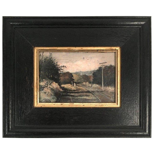 19th Century Small Landscape Painting with Railroad Tracks and Telegraph Poles For Sale - Image 10 of 10