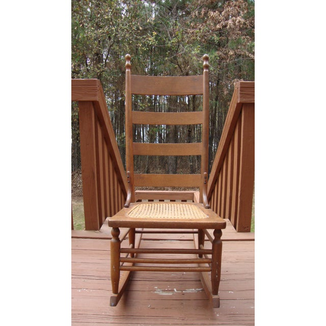 Antique 18th C. Early American Ladderback Rocker Chair For Sale - Image 10 of 11