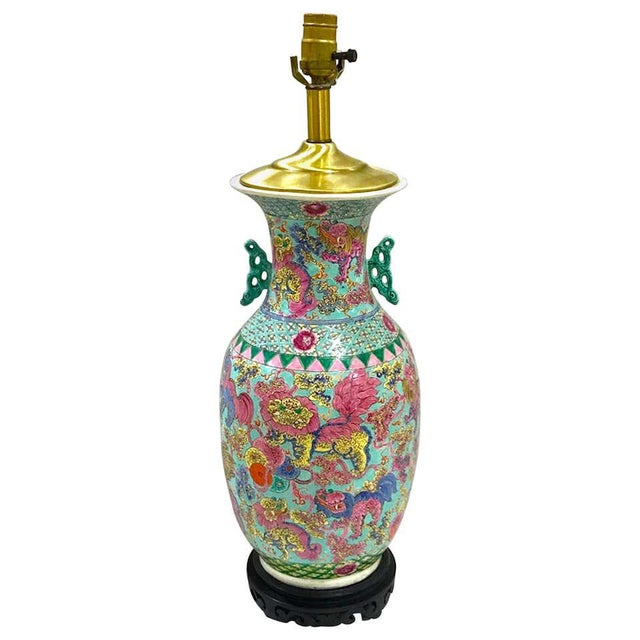 Exquisite Chinese Famille Rose Foo Dog Motif Vase, Now as a Lamp For Sale - Image 10 of 10