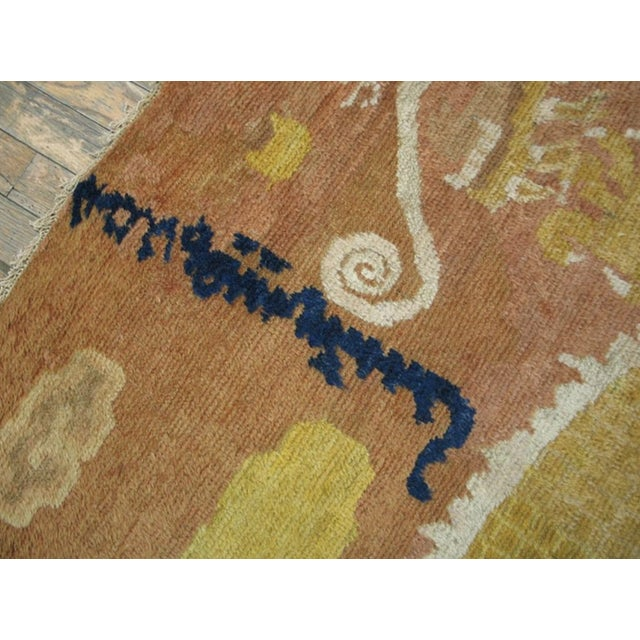 Mid 18th Century Mid 18th Century Antique Ningxia Pillar Rug For Sale - Image 5 of 9