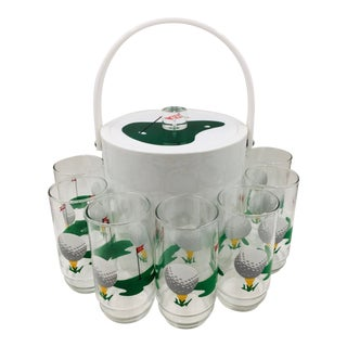 Vintage 19th Hole Ice Bucket and Highballs Set by Morgan Designs Bucket Brigade - 8 Piece Set For Sale