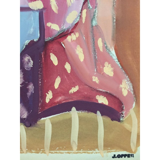 "1950s Original Bay Area Figurative Movement Gouache Painting ""Backside"" For Sale - Image 4 of 6"