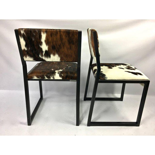 Pony Skin Blackened Steel Frame Dining Chairs - Set of 4 For Sale In New York - Image 6 of 10