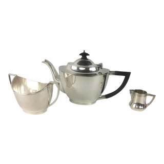French Art Deco Silver Plated Tea Service - 3 Pieces For Sale