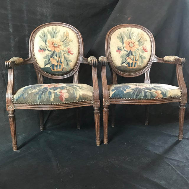 Period French Walnut Louis XVI Antique Carved Tapestry Fauteuils - a Pair For Sale - Image 9 of 9