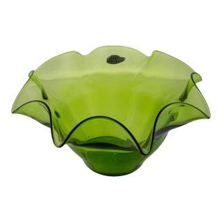 Green Blenko Fluted Fruit Bowl For Sale
