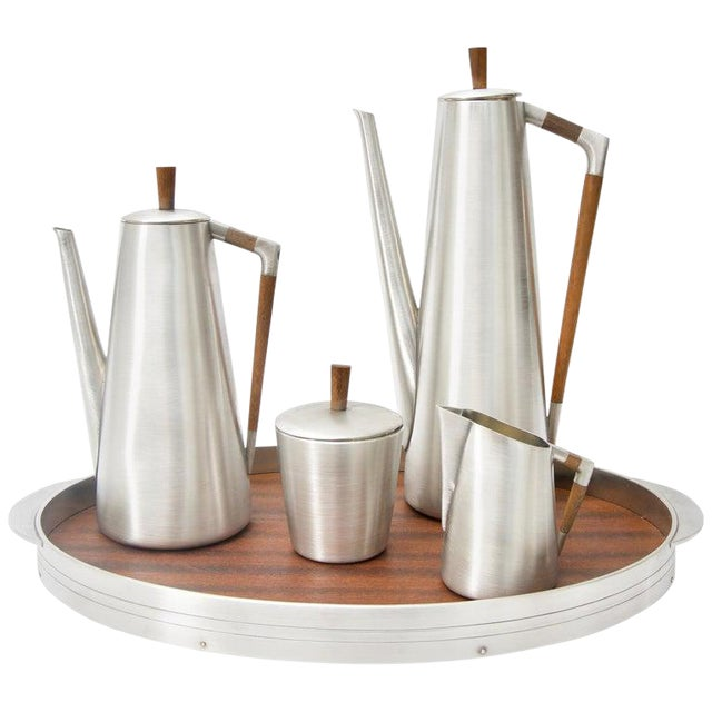 Modern Pewter and Mahogany Coffee and Tea Service by KMD Royal Holland - 5 Pc. Set For Sale