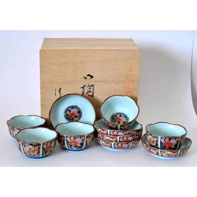 Unique, authentic Japanese Arita-Imari tea cups and saucers 10 item-set with display cabinet made of hinoki wood (Japanese...