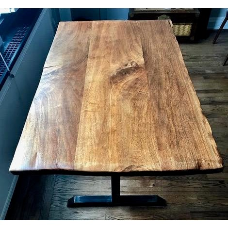 Metal Contemporary Live Edge Black Walnut Table With Blackened Steel Pedestal Base For Sale - Image 7 of 7