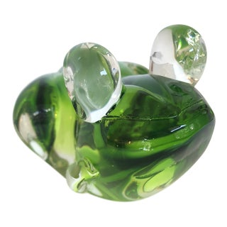 Hand Blown Green Art Glass Frog For Sale