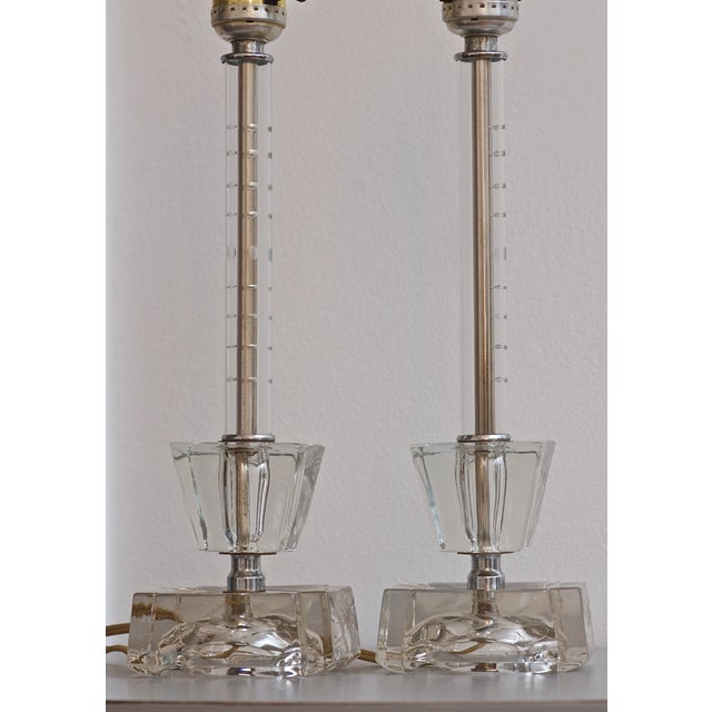 Mid-Century Etched Glass Two Tier Lamps - A Pair - Image 2 of 7