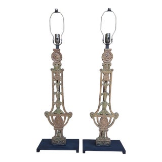 1890's Ny Theater Balustrade Lamps with Indian Chief Motif - a Pair For Sale