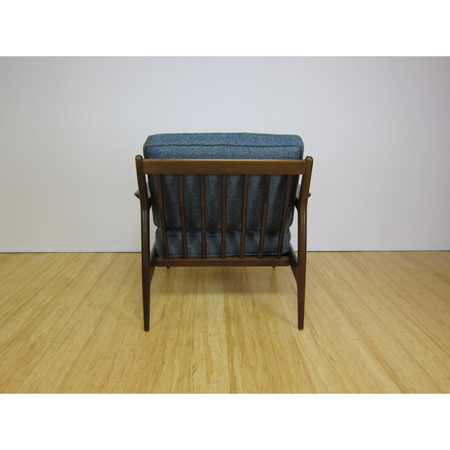 Blue 1960s Mid-Century Modern Ib Kofod Larsen for Selig Walnut Lounge Chair For Sale - Image 8 of 11