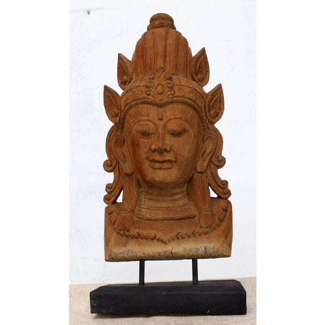 Fine Carved Teak Mask on Stand Sculpture of Buddha For Sale - Image 10 of 11