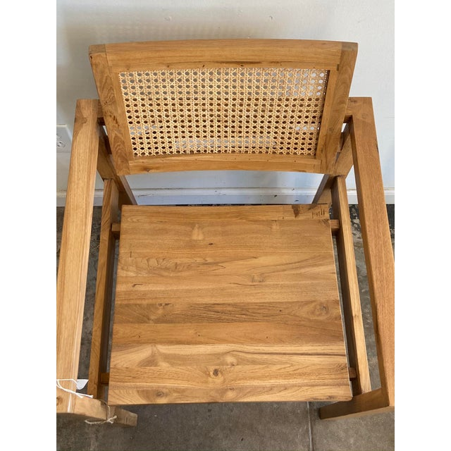 2020s Natural Teak Woven Cane Back Chair For Sale - Image 5 of 7