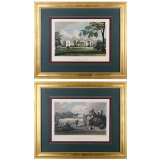 English Country Manor House Prints - A Pair For Sale