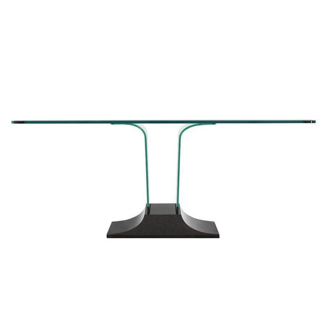 Glass Italian Mid Century Modern Large Bent Glass Console Sofa Table For Sale - Image 7 of 9