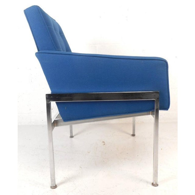 1970s Mid-Century Modern Chrome Frame Tufted Lounge Chairs - A Pair For Sale - Image 5 of 11
