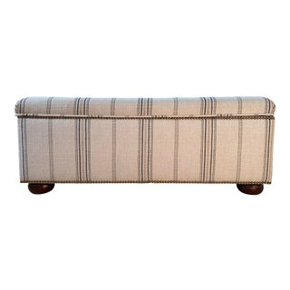 Neutral Striped Linen Fabric Upholstered Bench For Sale