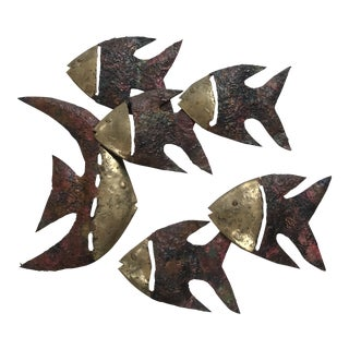 Brutalist Brass Metal Fish Curtis Jere Style Wall Sculptures - Set of 6 For Sale
