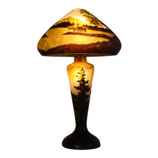 Emile Gali Style Carved Glass Lamp