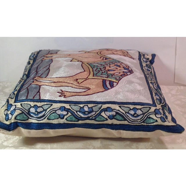 Silk Embroidered Ari Pillows - A Pair - Image 8 of 11