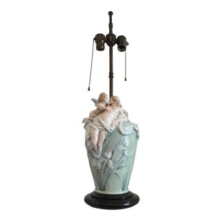 Art Nouveau Lamp-- Cupid and Nymph For Sale