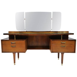 1960s G-Plan English Mid-Century Modern Vanity Dressing Table For Sale