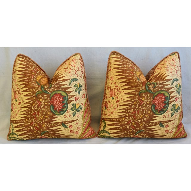 """French Pierre Frey La Riviere Feather/Down Pillows 21"""" Square - Pair For Sale In Los Angeles - Image 6 of 12"""