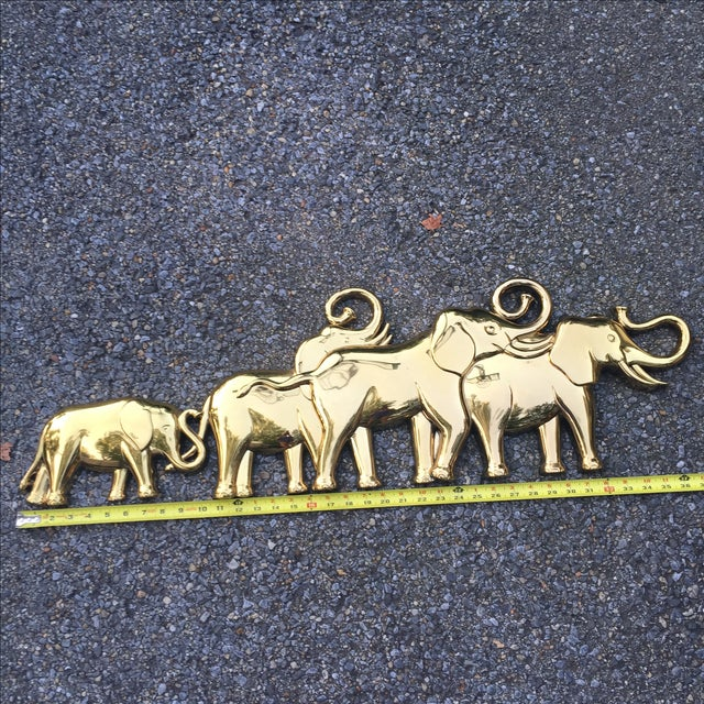 Modern Syroco Gold Lucky Elephant Wall Hanging For Sale - Image 3 of 8