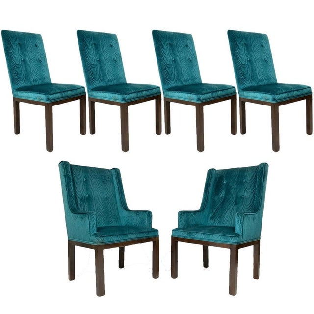 John Widdicomb Tufted Textured Velvet Parsons Dining and Armchairs - Set of 6 For Sale - Image 12 of 13