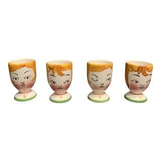 Vintage Blushing Face Egg Cups - Set of 4 For Sale