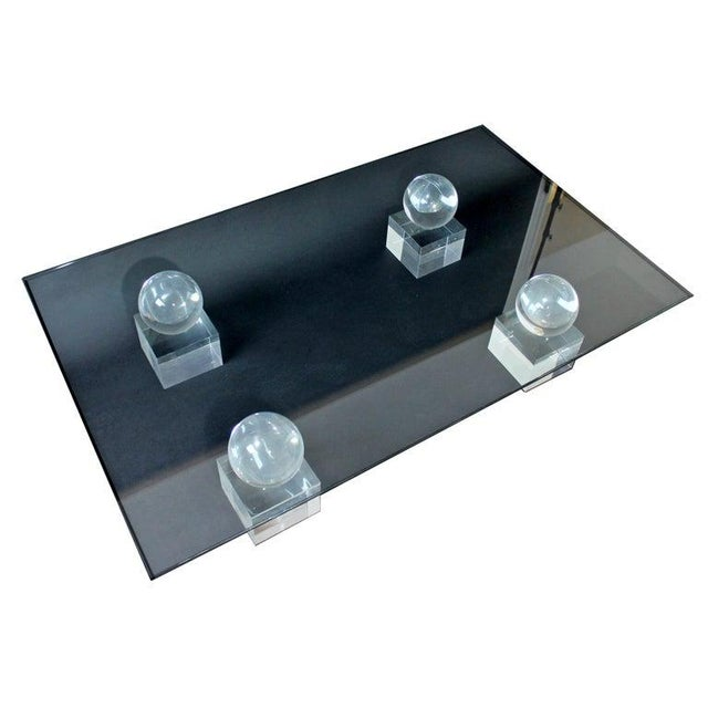 Karl Springer Mid-Century Modern Lucite Glass Coffee Table by Karl Springer Comatec, France 1970s For Sale - Image 4 of 10