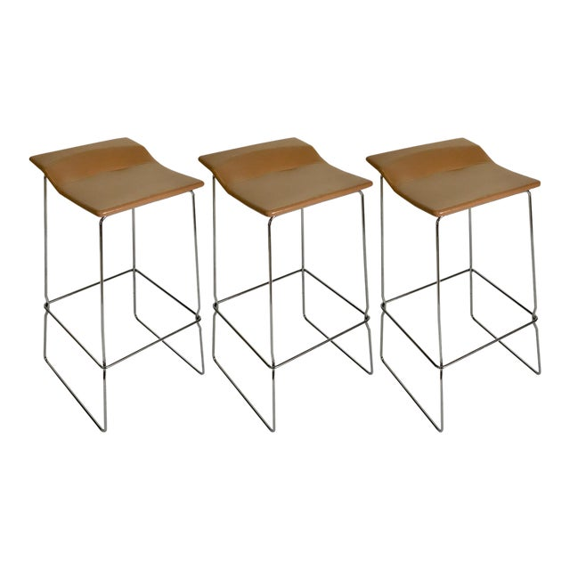 "Set of Three ""Last Minute"" Stitched Leather & Steel Bar Stools, Patricia Urquiola For Sale"