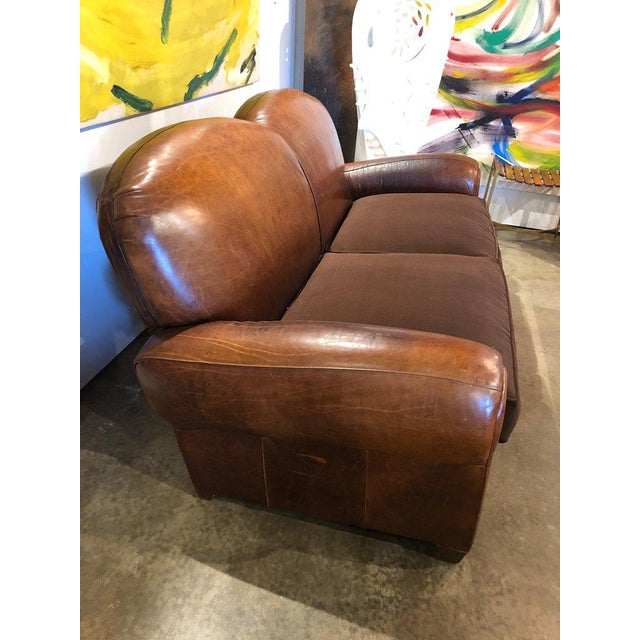 Mid 20th Century Vintage Leather Club Sofa For Sale - Image 5 of 7