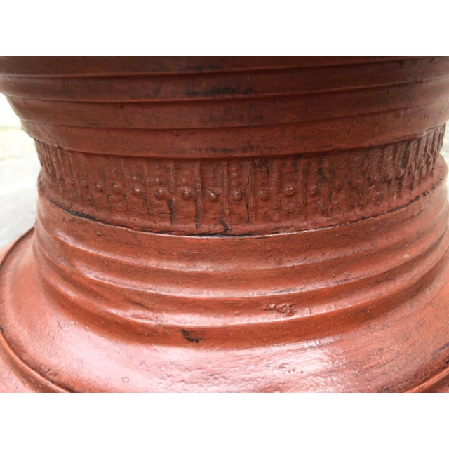 Ceramic Asian Sculptural Burmese Terra Cotta Colored Wood Offering Urn For Sale - Image 7 of 8
