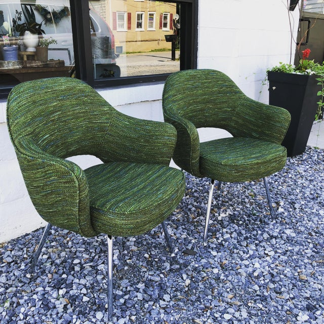 2010s Green Saarinen for Knoll Executive Armchairs - A Pair For Sale - Image 5 of 10