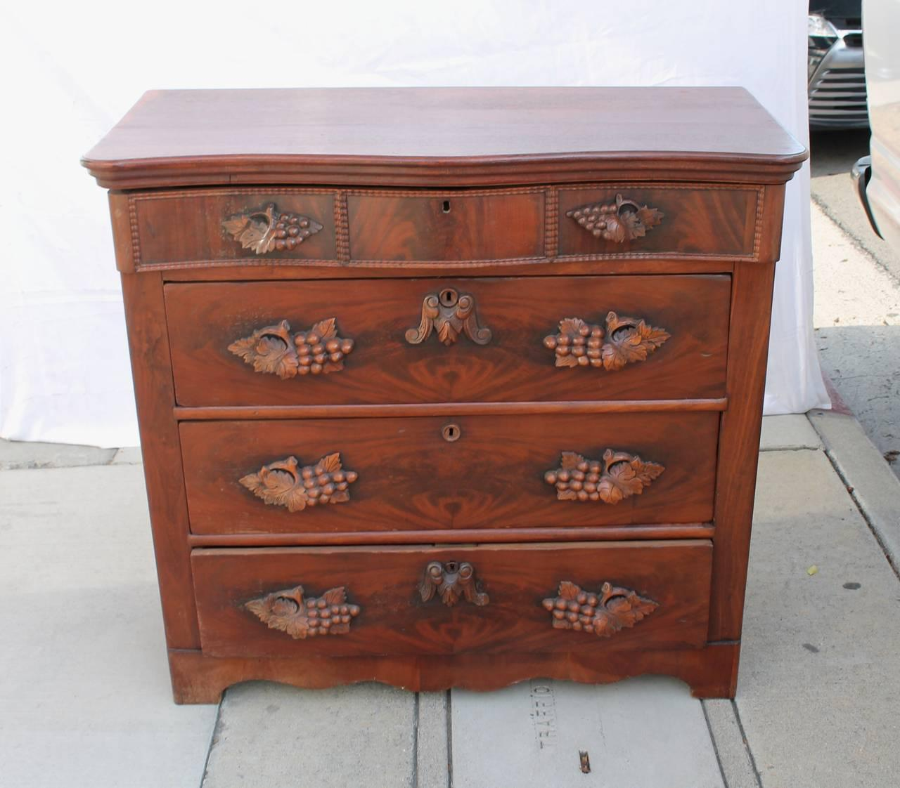 Fancy Th Century Empire Walnut Tall Chest Of Drawers Image