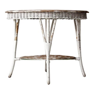 Antique White Wicker Table For Sale