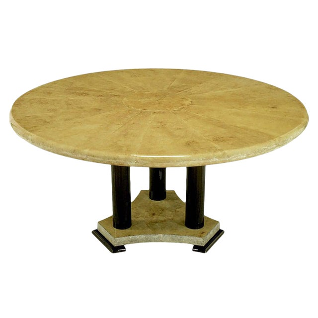 Empire Dining Table with Sunburst Goatskin Top and Chocolate Lacquer Base For Sale