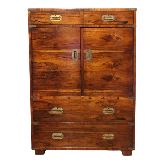 20th Century Campaign John Stuart Rosewood and Brass Highboy Dresser For Sale