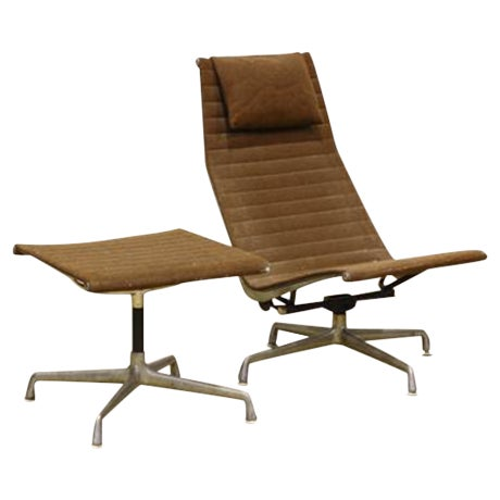 Vintage Aluminium Group Lounge Chair and Ottoman - Image 1 of 6
