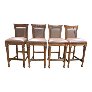 Hooker Brown Faux Leather Bar Stools - Set of 4 For Sale