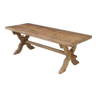 Antique Country French White Oak Trestle Table For Sale